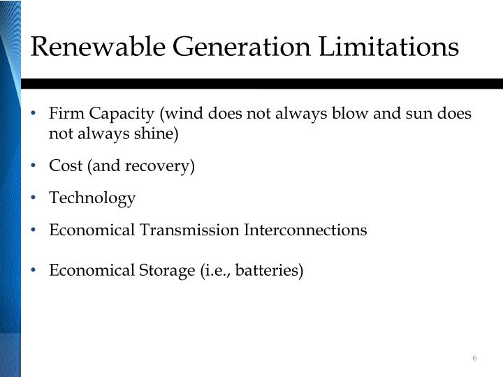 Renewable Generation Limitations
