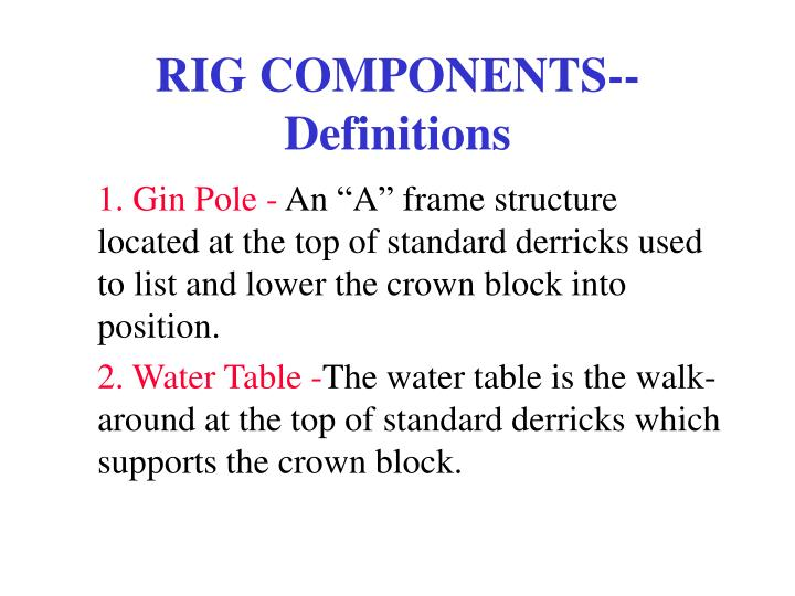 rig components definitions n.