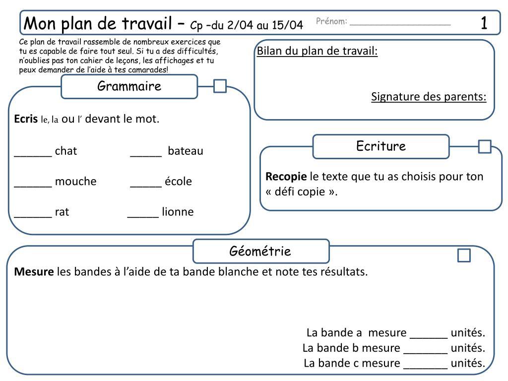 Plan De Travail 15 ppt - mon plan de travail – cp –du 2/04 au 15/04 1