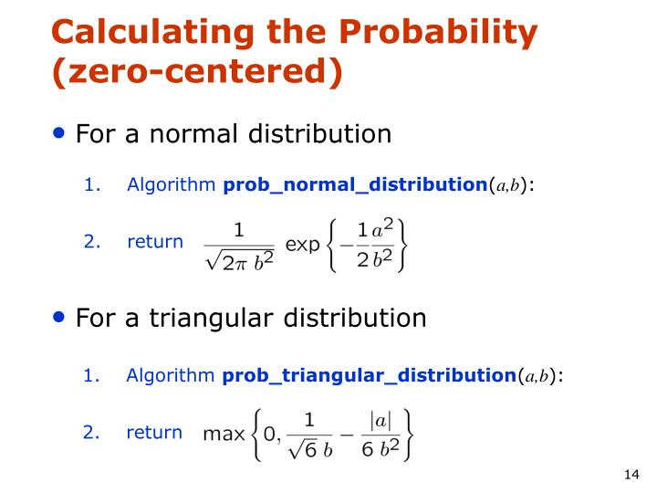 Calculating the Probability (zero-centered)