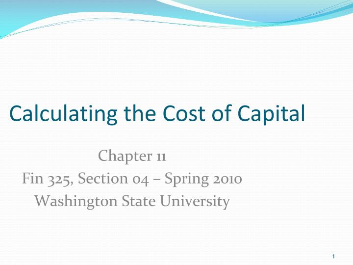 calculating the cost of capital n.