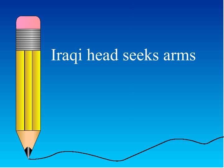Iraqi head seeks arms