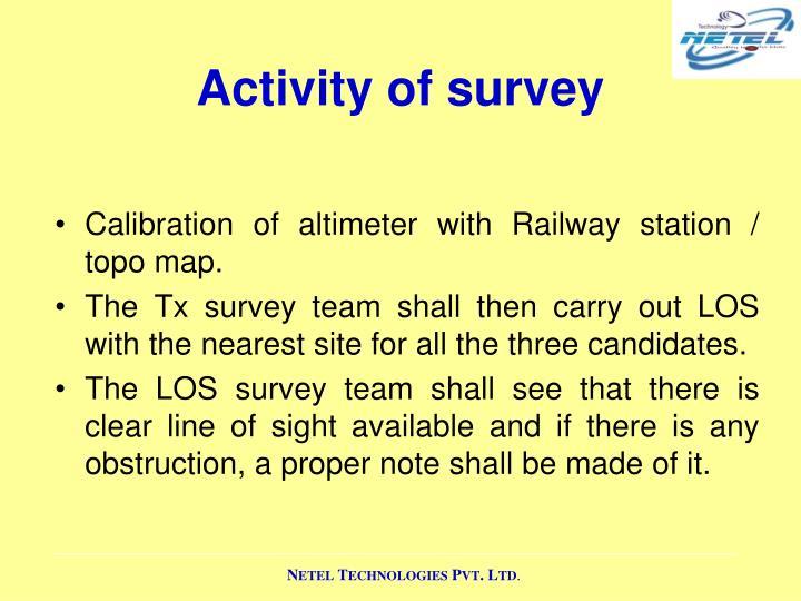 Activity of survey