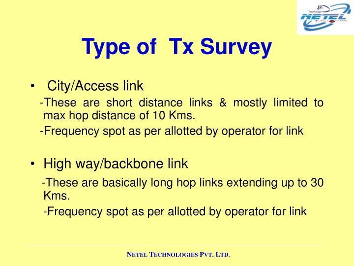 Type of  Tx Survey