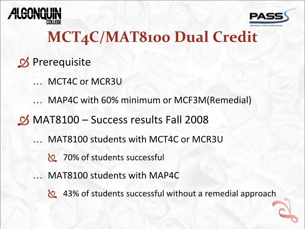PPT - Team Teaching MCT4C - Math for College Technology MAT8100