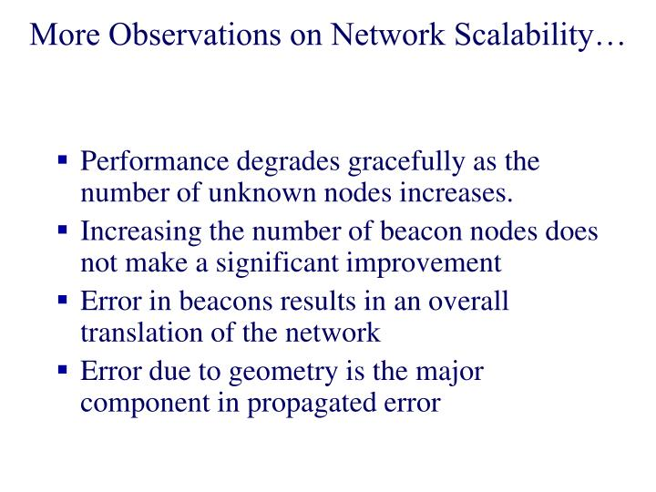 More Observations on Network Scalability…