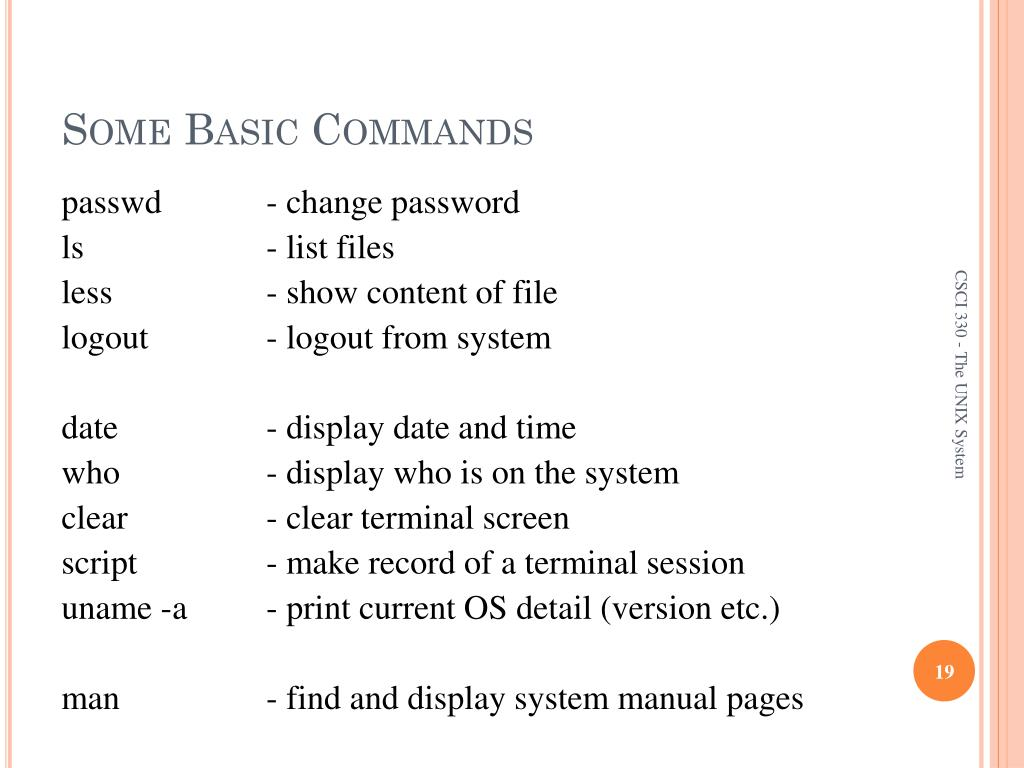 PPT - CSCI 330 The UNIX System PowerPoint Presentation - ID