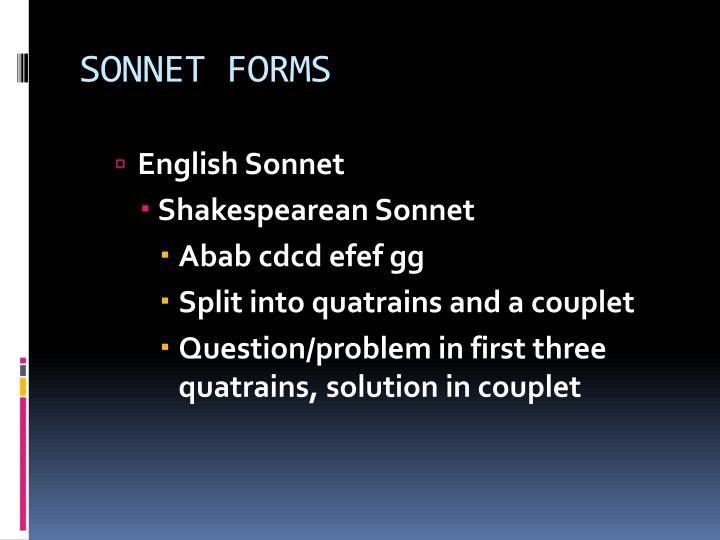 SONNET FORMS