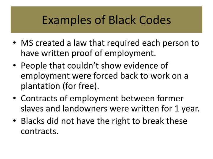 Examples of Black Codes