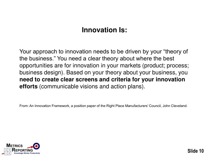 Innovation Is: