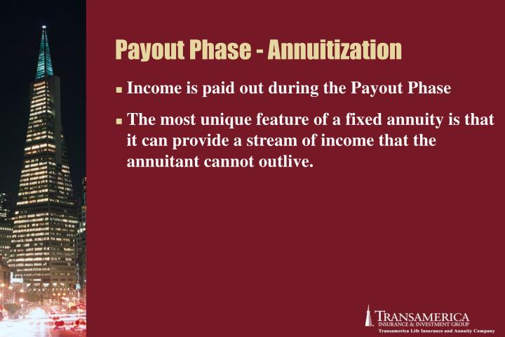 Payout Phase - Annuitization
