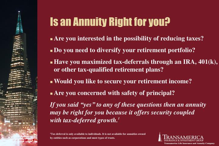 Is an Annuity Right for you?