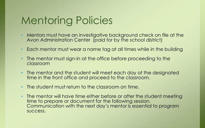 Mentoring Policies