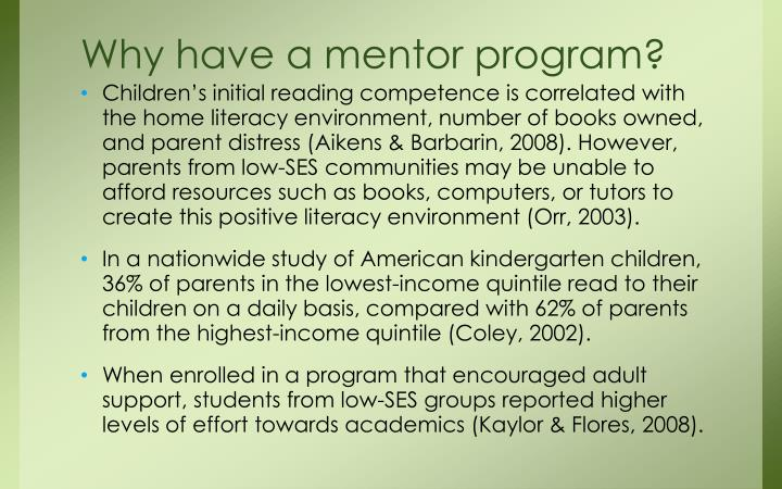 Why have a mentor program