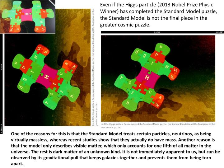 Even if the Higgs particle (2013 Nobel Prize Physic Winner) has completed the Standard Model puzzle, the Standard Model is not the final piece in the greater cosmic puzzle.