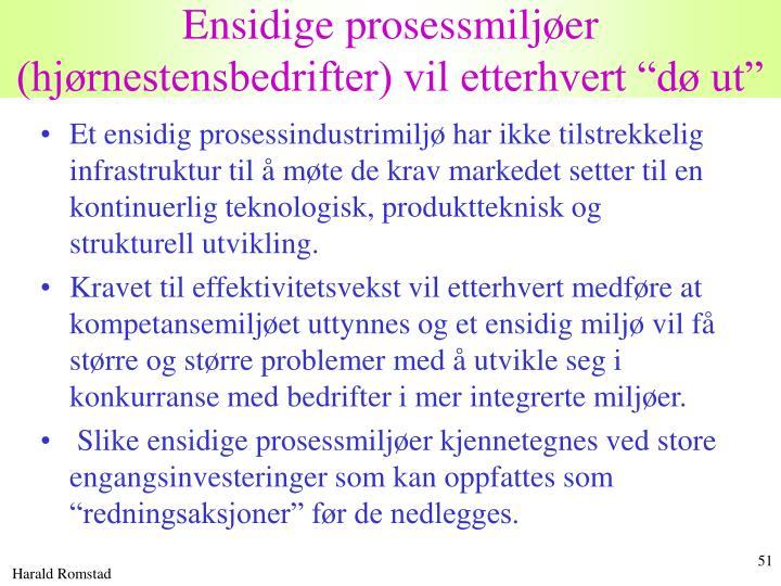"""Ensidige prosessmiljøer (hjørnestensbedrifter) vil etterhvert """"dø ut"""""""