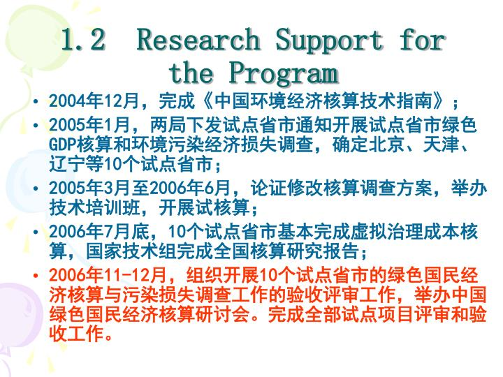 1.2  Research Support for the Program