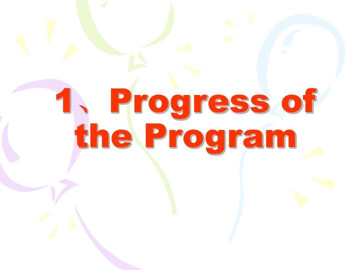1 progress of the program