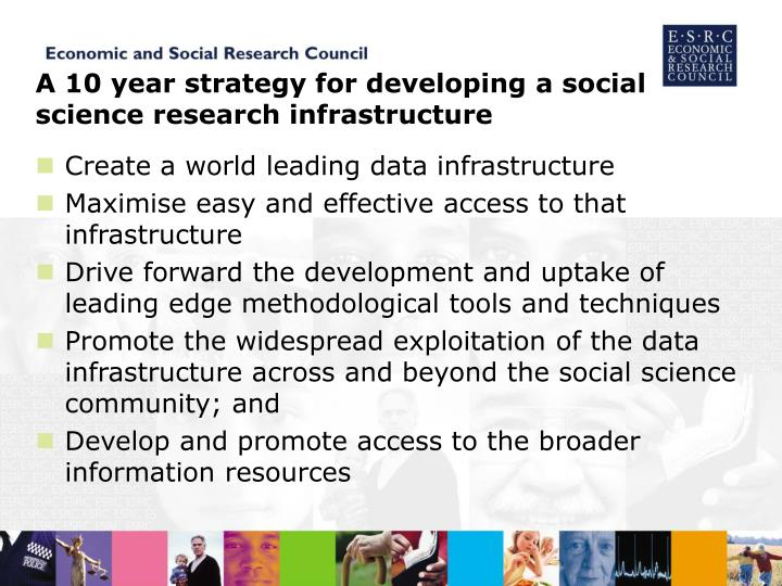 A 10 year strategy for developing a social science research infrastructure