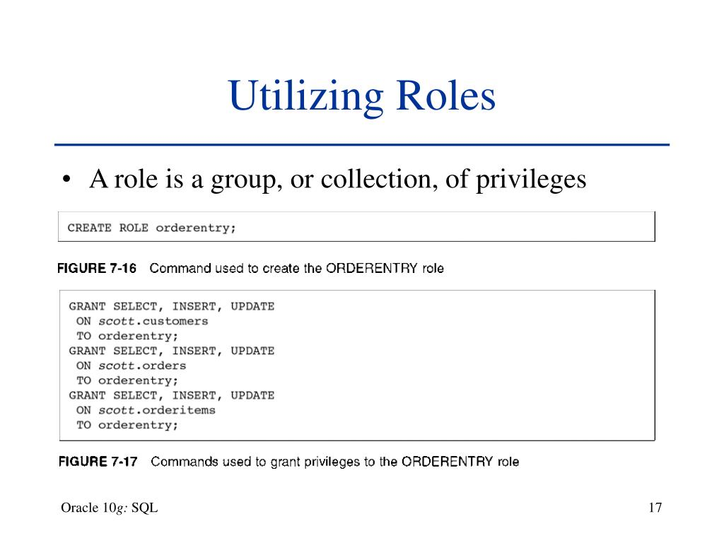 PPT - Chapter 7 User Creation and Management Oracle 10 g