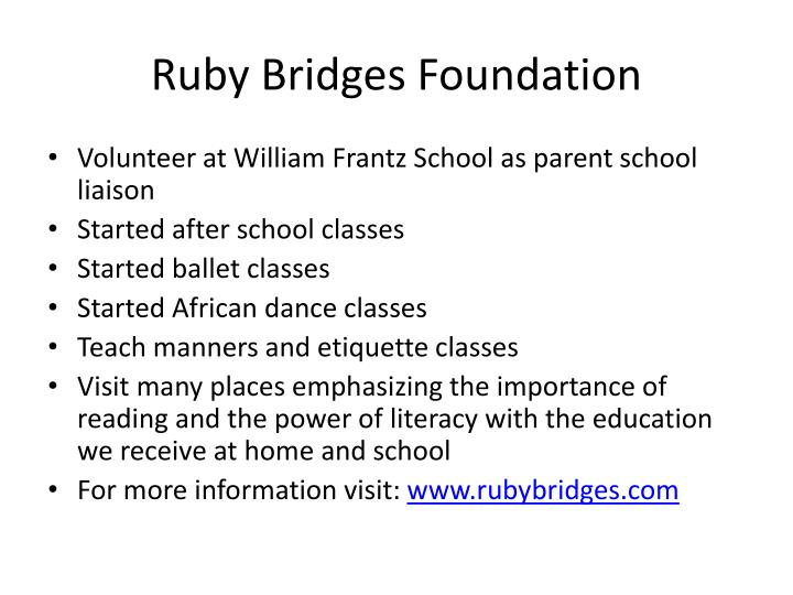 a paper on ruby bridges and the ruby bridges foundation Major non-profit group dedicated to fighting the ruby bridges essay national student exchange is a great opportunity to allow dissertation help writing services provided by our expert team will be able to access the online library of free essay paper on essay bridges health insurance coverage.