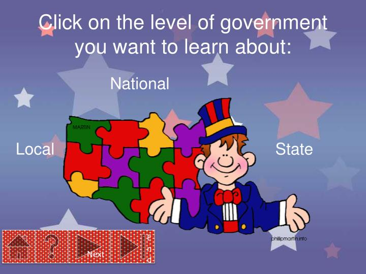 Click on the level of government you want to learn about: