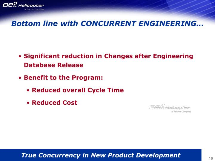 Bottom line with CONCURRENT ENGINEERING…