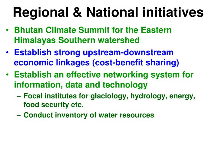 Regional & National initiatives