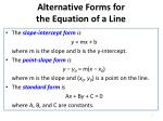 alternative forms for the equation of a line