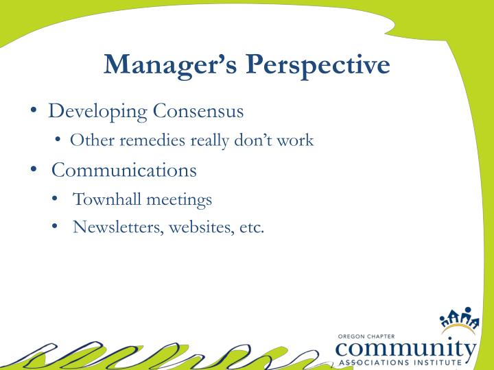 Manager's Perspective