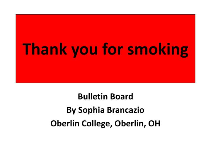 thank you for smoking n.