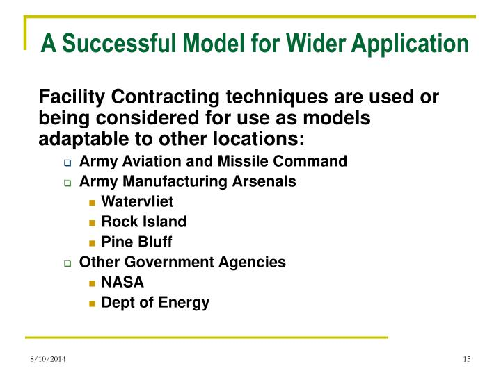 A Successful Model for Wider Application