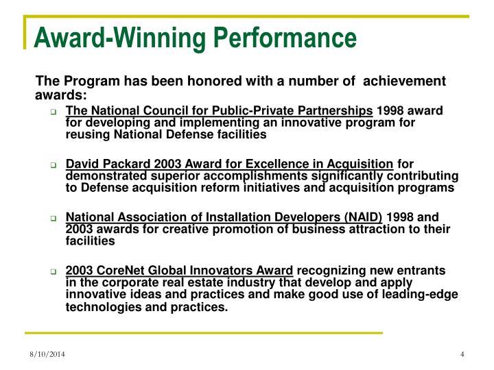 Award-Winning Performance