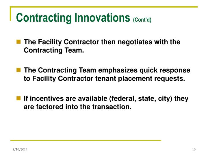 Contracting Innovations