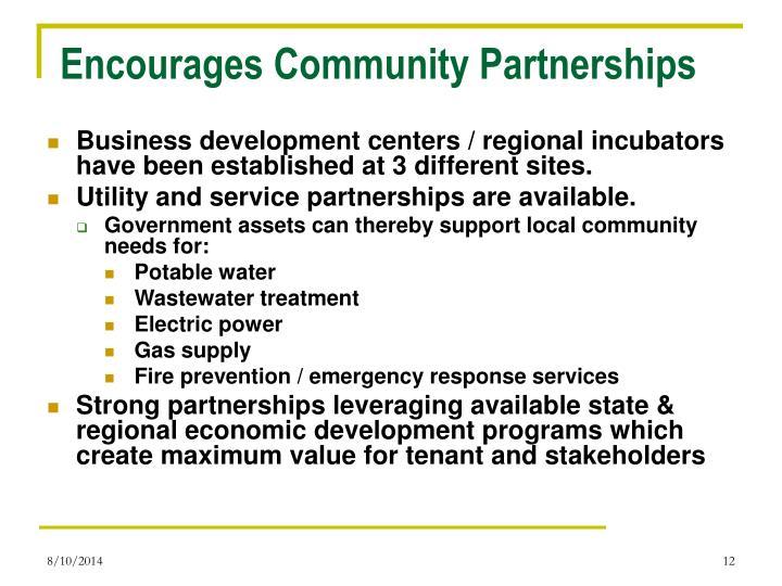 Encourages Community Partnerships