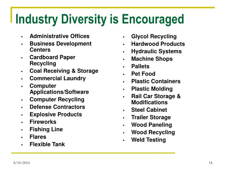 Industry Diversity is Encouraged