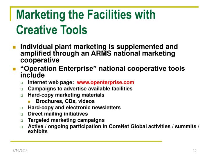 Marketing the Facilities with Creative Tools