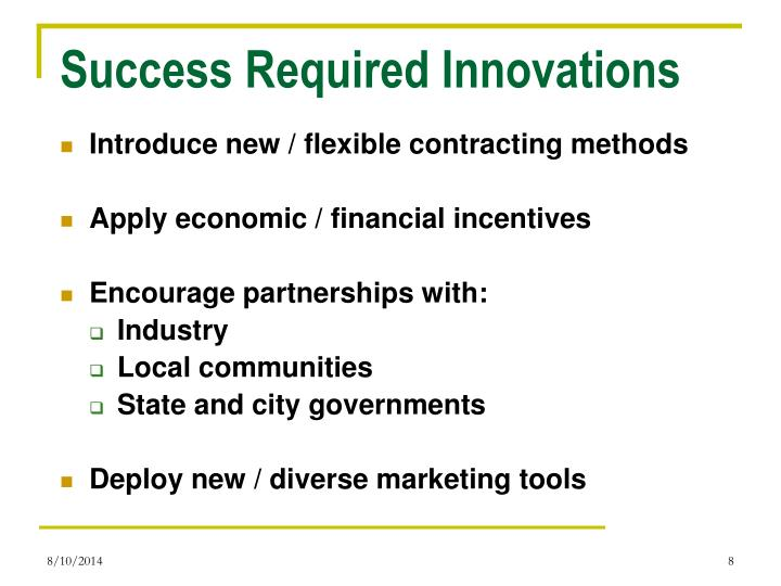 Success Required Innovations