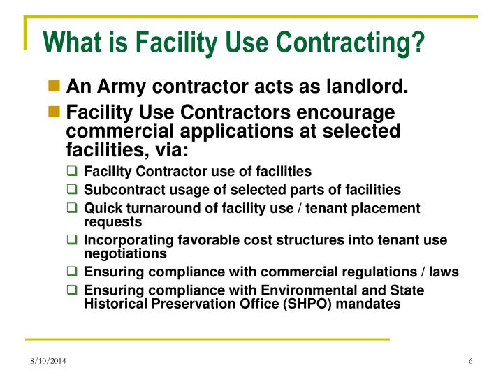 What is Facility Use Contracting?