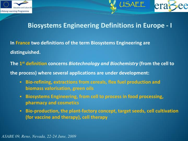 Biosystems Engineering Definitions in Europe - I