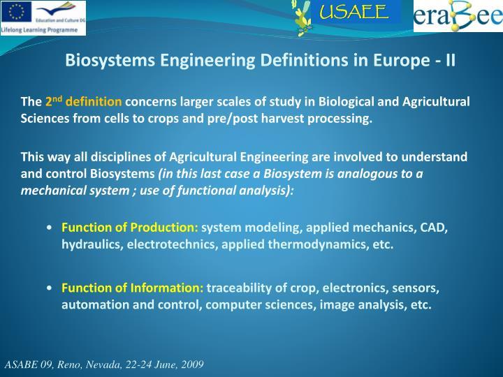 Biosystems Engineering Definitions in Europe - II