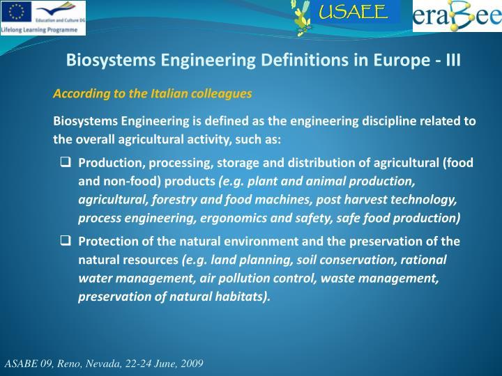 Biosystems Engineering Definitions in Europe - III