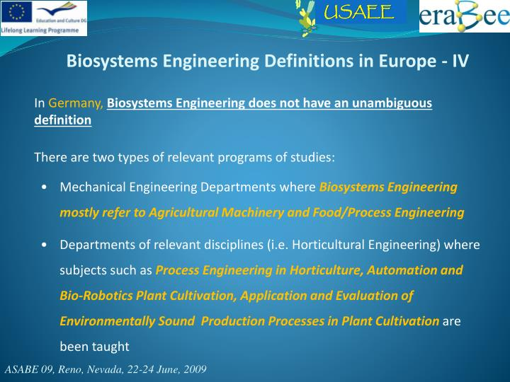 Biosystems Engineering Definitions in Europe - IV