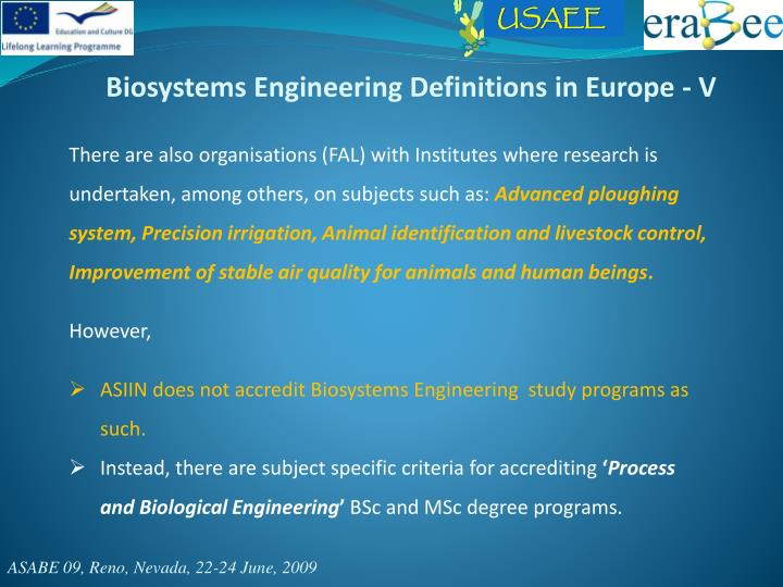 Biosystems Engineering Definitions in Europe - V