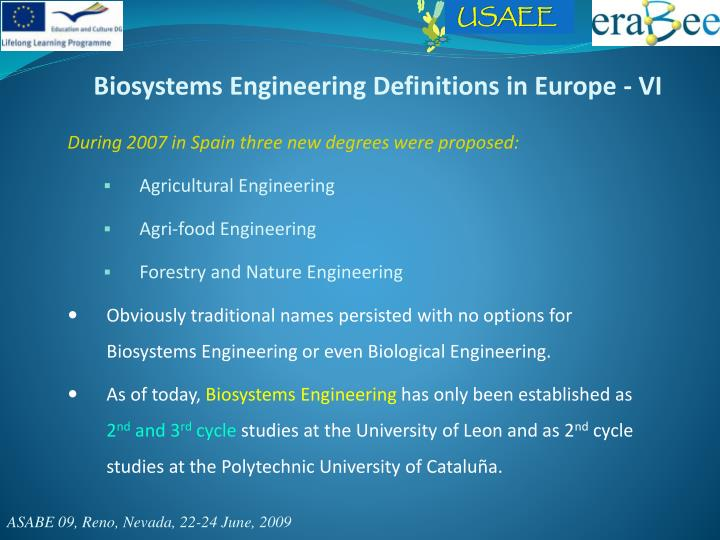 Biosystems Engineering Definitions in Europe - VI