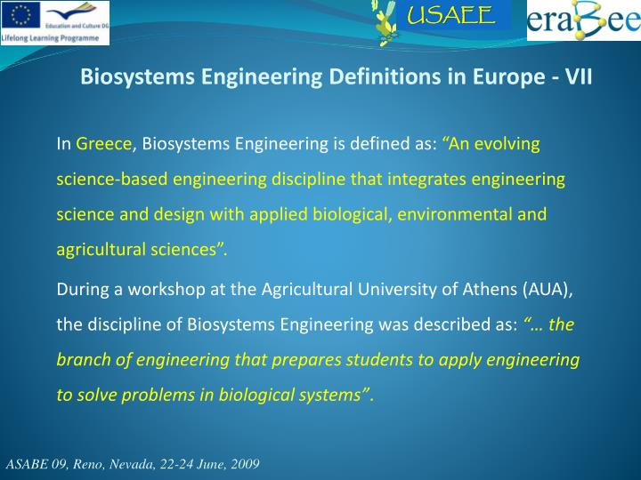 Biosystems Engineering Definitions in Europe - VII