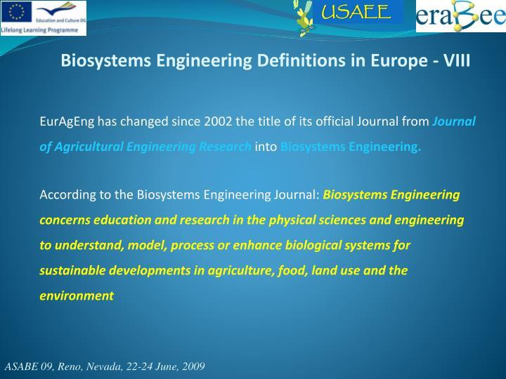 Biosystems Engineering Definitions in Europe - VIII