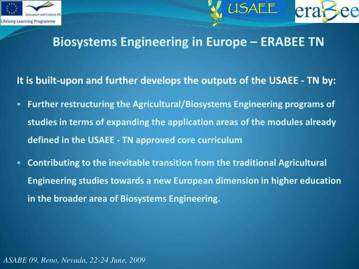 Biosystems Engineering in Europe – ERABEE TN