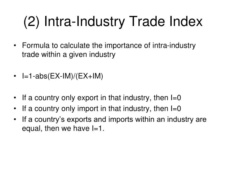 (2) Intra-Industry Trade Index