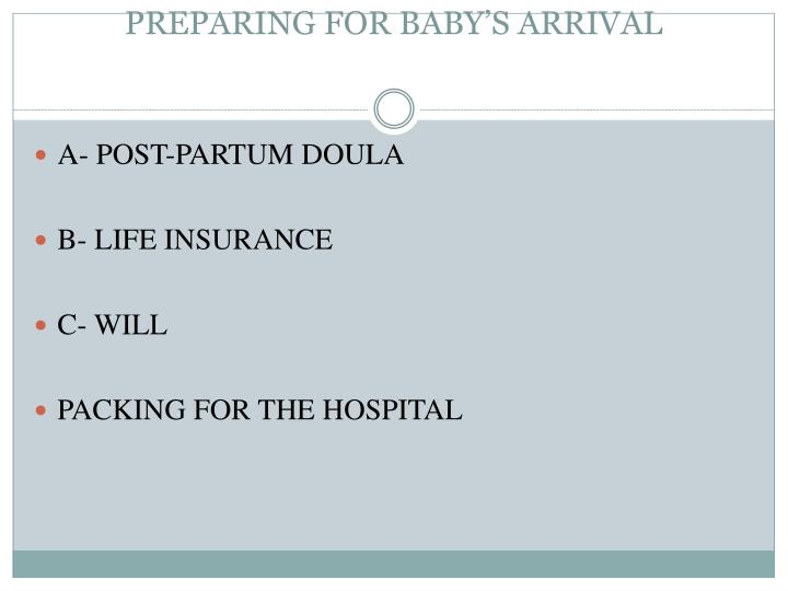 Preparing for baby s arrival